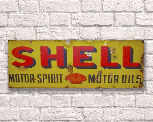 Shell Rusty Metal Sign 20cm x 56cm